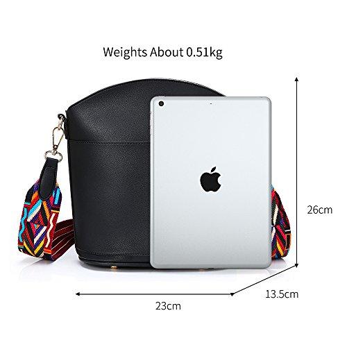 YsinoBear Women Messenger Bag Cross- body Bag Bohemian Style Durable Wide Strap Shoulder Bag Organizer with Colorful Rivets(Black)