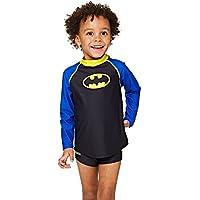 Zoggs Bañador para niños de Batman de sol manga larga, Infantil, color negro y azul, tamaño 5 años