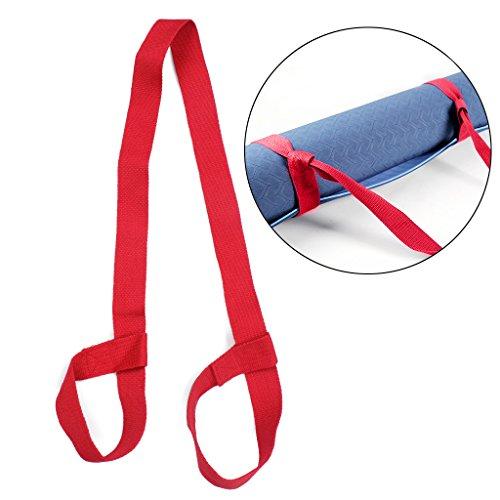 Yoga-Matten-tragender Bügel, justierbare Baumwolle-Yoga-Matten-Riemen-Gurt-Schultergurt für Gymnastik-Sport-Übung (rot) (Gymnastik-matte 4x8)