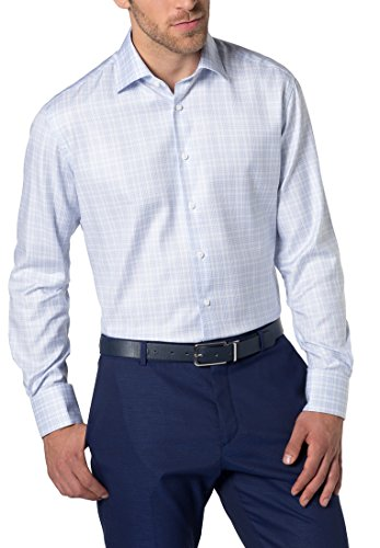 ETERNA long sleeve Shirt MODERN FIT Twill checked azzurro chiaro/bianco