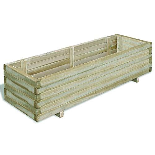 Especificación: Material: Madera de pino impregnada de verde (certificada por FSC) Resistente a la putrefacción Dimensiones totales: 120 x 40 x 30 cm (longitud x anchura x altura) Dimensiones interiores: 114 x 34 x 26 cm (anchura x profun...