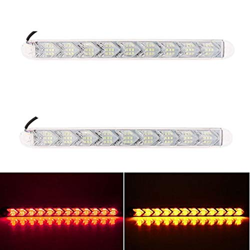 LanLan Phares Moto 2pcs Voiture Flexible DRL Switchback LED lumière de Bande Phare Arrowhead Clignotant Clignotant Lampe étanche Red Light + Yellow Light