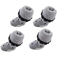 MICHAELA BLAKE 4 Piezas De Algodón Cómodo Calcetines para Mascotas Antideslizante Calcetines Tiny Gato Pequeño Perro Impresiones De La Pata Negro M Puntos