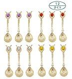 Creativa Series de Pequeñas Cuchara Cristal incrustado Tallado Retro Cuchara,Un juego de 12 piezas