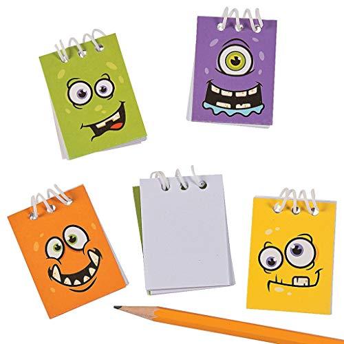 Elfen und Zwerge - Notizblock - Schreibblock Monster - für Kinder - Mitgebsel Kindergeburtstag - 12 Stück (Gesicht Malen Halloween Weiße)