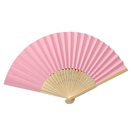 LoveOlvido Tragbare größe DIY Sommer Bambus Falten Hand Fan Chinese Dance Party Tasche Geschenke Hochzeit einfarbig Fan - rosa (Heilung Körper-lotion)