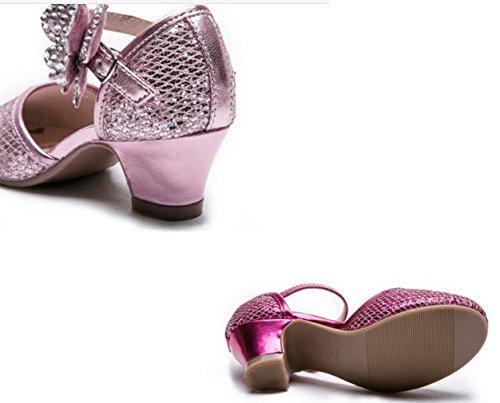 Ohmais Enfants Filles Chaussure cérémonie Ballerines à bride Fête Demoiselle d'honneur Mariage Escarpin plat Babies Rose