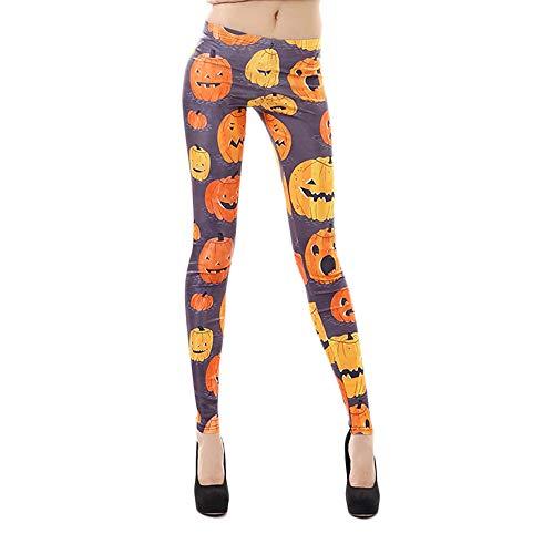 Dorical Damen Hose, Halloween Drucken Schlank Passen Dehnbar Bandage Hohe Taille Gamaschen Bleistift Hose für Frauen Große Förderung(EU 38/CN XL,Stil ()