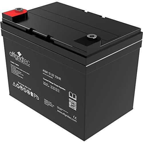 Offgridtec 32 Ah 12 V AGM Solar Batterie für zyklische Anwendungen, 2-01-001480