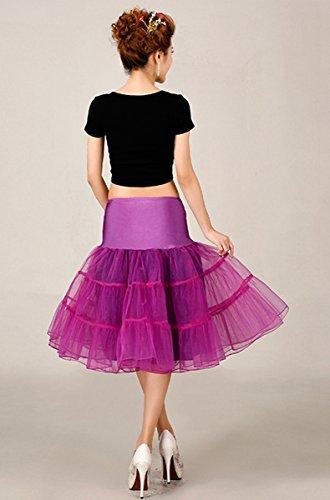 FEOYA 50er Jahre Vintage Petticoat Reifrock Retro Unterrock Underskirt Wedding Bridal Petticoat für Rockabilly Kleid in Mehreren Farben Lila