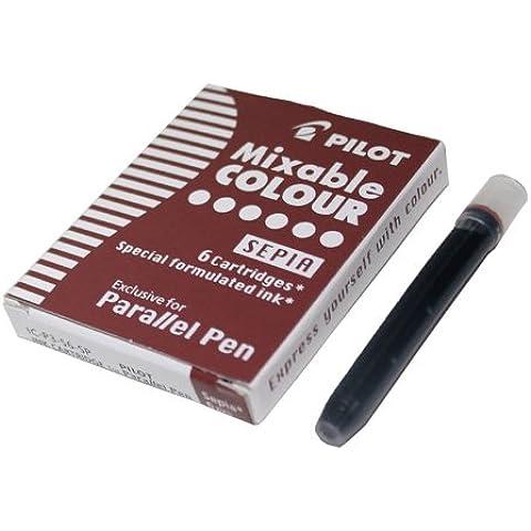 Pilot o toallas color cartuchos de tinta para pluma paralela - Sepia (marrón) (6 unidades)