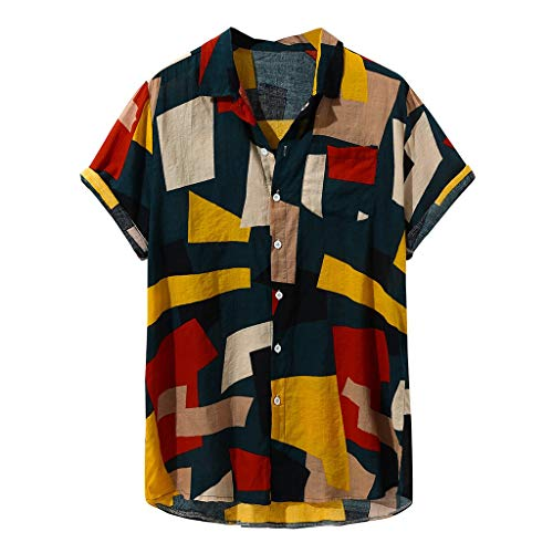 Camisetas Hombre Manga Corta SHOBDW 2019 Sólido Cuello Mao Camisa Lino Hombre Casual Moda Blusa Slim...