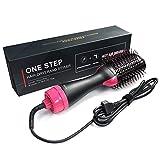WQCAPE Hot Air Brush One-Step 2 in 1 Sèche-Cheveux et Volumizer Salon Multifonctionnel ION négatif Lisseur et Peigne à Cheveux bouclés,1