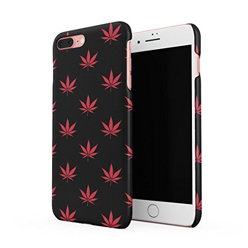 Relax Cannabis Leaves Pattern Custodia Posteriore Sottile In Plastica Rigida Cover Per iPhone 7 Plus & iPhone 8 Plus Slim Fit Hard Case Cover Red Cannabis