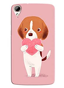 Blue Throat Dog Carrying Heart Printed Designer Back Cover For HTC Desire 828