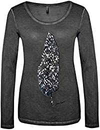 Urban Surface Damen Longsleeve mit Federprint & Pailletten | Basic Langarmshirt mit Aufdruck Rundhals einfarbig