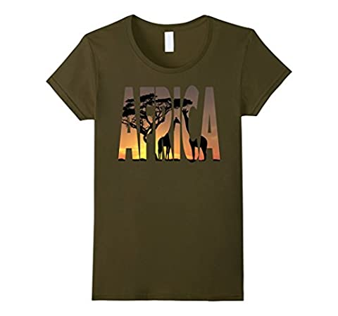 Africa Giraffe Safari Savannah African Wildlife Sunset Shirt Female Large Olive