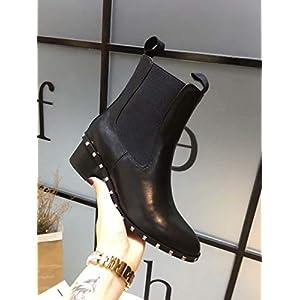 Top Shishang Herbst und Winter Mode Damen dick mit Spitzen Leder Martin Stiefel Chelsea Stiefel und Stiefeletten westlichen Stiefeletten