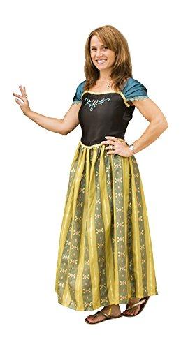 Frozen Anna, da donna, Costume per adulti da principessa per Party Dress up verde L