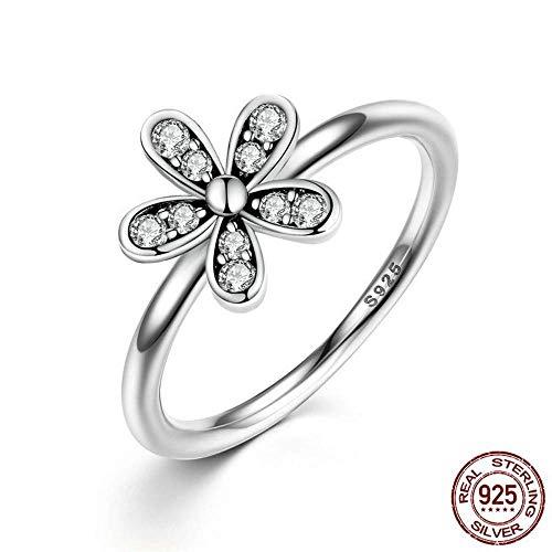 J-Z Fashionring 100% 925 Sterling Silber Dazzling Daisy Meadow Stapelbarer Ring AAA Clear Cz für Frauen für Frauen Original Pan Jewelry, Ring, 7 - Alle Ringe Cz Herren