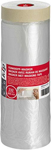 Kip Tape 232-25 Feinkrepp-Masker - Abdeckfolie mit Kreppband zum Streichen & Lackieren - Schutz vor Farbflecken - 2600mm x 25m