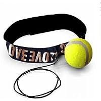Bola elástico de combate con la banda de cabeza para el entrenamiento de velocidad de reacción entrenamiento de contraste de boxeo, amarillo