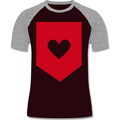 Symbole - Herz - zweifarbiges Baseballshirt für Männer Burgundrot/Grau meliert