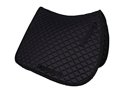 Gallop Cotton Quilted Saddle Cloth Pad for Horses or Ponies all colours (Black, Pony/Cob)