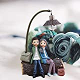 Vosarea Mini Resin Couple Lamp Living Room Bedroom Decorations Crafts Gifts for Home Lovers Party Valentines Day (D)