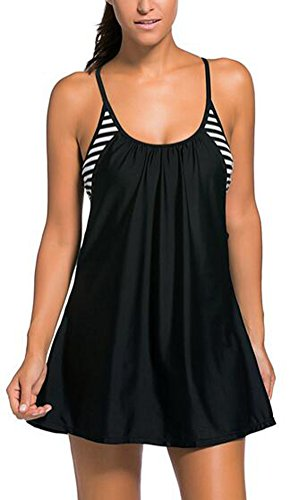 SunIfSnow donna Sexy Tankini Top Flowing Swim vestito a strati ritaglio Bikini Black Medium