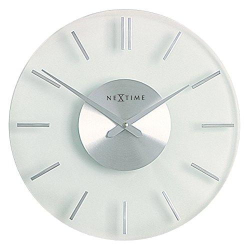 NeXtime Wanduhr STRIPE lautlos, rund, aus Glas und Edelstahl, ø 31 cm