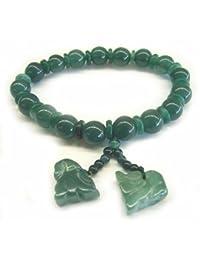 Feng Shui importación verde Jade pulseras w/Pi Yao