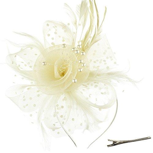 DRESHOW Fascinators Hut Blume Mesh Bänder Federn auf einem Stirnband und einem geteilten Clip Cocktail Tea Party Headwear für Mädchen und Frauen,Beige,Einheitsgröße
