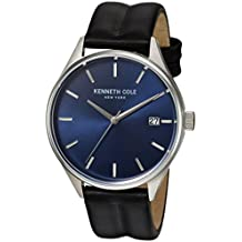 Kenneth Cole New York Herren Armbanduhr 'Classic' Quarz Edelstahl und Leder Kleid, Farbe: Schwarz (Modell: 10030836)