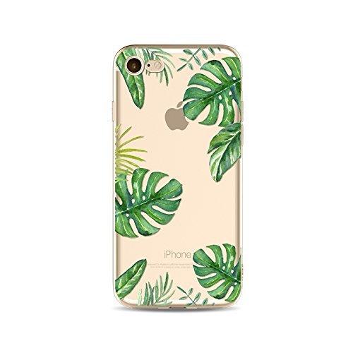 Coque iPhone 7 Plus Housse étui-Case Transparent Liquid Crystal en TPU Silicone Clair,Protection Ultra Mince Premium,Coque Prime pour iPhone 7 Plus-Les feuilles-style 17 19
