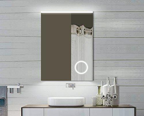 Specchio da bagno con luce a LED, con specchio cosmetico, 60 x 80 cm