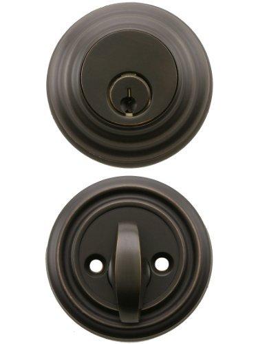Solid Brass Single Cylinder Low Profile Deadbolt Oil Rubbed Bronze With 2 3/8 Backset. Mortise Lock Parts. by Emtek -