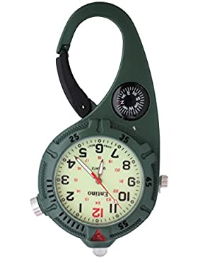 Mini-Clip-Uhr - kompakte analoge Display Karabiner grüne Uhr mit Kompass & ultra helle LED-Ultraleicht leuchtende...