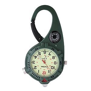Entino Unisex Taschenuhr Kompass helle LED leuchtende analoge Quarzwerk mit Mini-Clip Karabiner Ent-FOB