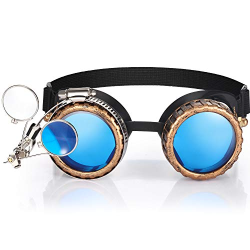 Steampunk Viktorianische Brillen Vintage Brillen mit Doppelten Lupen Linsen Gotischen Brillen (Rundes Design, Bronze)