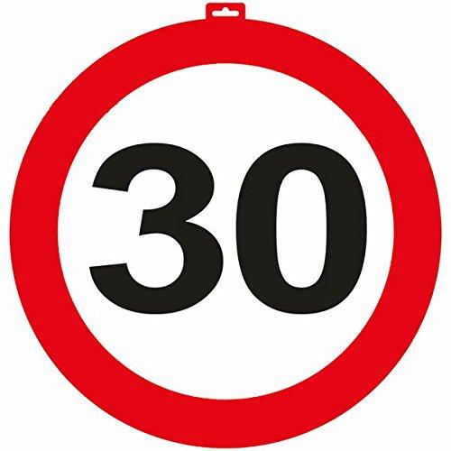 Carpeta - Riesen Verkehrsschild * Zahl 30 * ┃ Ø 47,5cm ┃ Deko 30. Geburtstag ┃ Türschild und Straßenschild ┃ mit & Ohne Aufhänger ✔