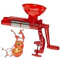 pasa Tomate con manivela roja, Máquina de Pasada de tomate, Manzana Quick Exprimidor de tomates manual con Abrazadera de fijación, filtro de acero ...
