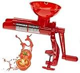 Rote Tomaten Handkurbel, Tomatenmarkmaschine, Pomo Schnellanleitung Tomatenpresse mit Befestigungsklemme, Edelstahlfilter, Kunststoffpropeller, 20 x 34 x 13,5 cm