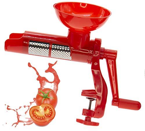 Passa pomodoro a manovella rossa, macchina per passata di pomodoro, pomo quick spremipomodoro manuale con morsetto di fissaggio, filtro in acciaio inox, elica in plastica, 20 x 34 x 13,5 cm