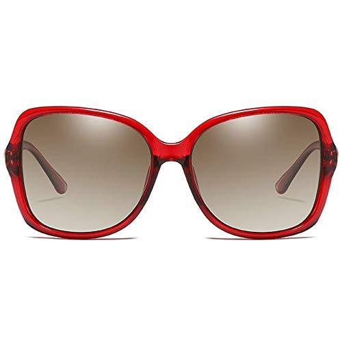 WULE-Sunglasses Unisex pc Material uv400 Sonnenbrille rot/braun/Champagner objektiv braun Rahmen weibliche Modelle Fahren Sonnenbrille (Farbe : Red)
