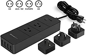PowerBear Travel Adapter Surge Protection Power Converter Strip Charging Station with USB Ports Global Power Adapter with 3 International Power Adapters - Black 24 MONTH GUARANTEE