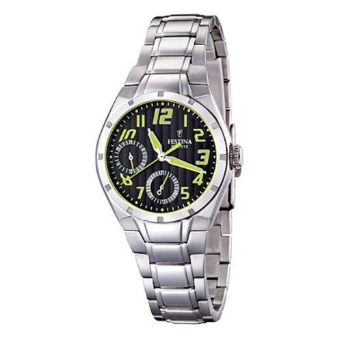 Festina F16484/5 - Reloj cronógrafo de cuarzo para mujer con correa de acero inoxidable, color plateado