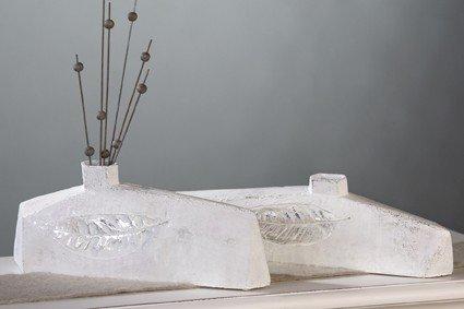Designer-Vase Leaf XXL antik-weiß 16 x 41 cm