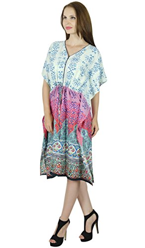 Bimba Femmes court Rayon Kaftan Plage Coverup Imprimé Caftan Robe Boho Multicolore