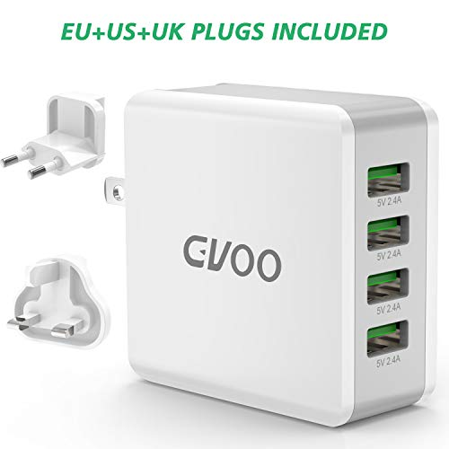GVOO USB Ladegerät,Universal 4 Anschlüsse US/EU/EK Multi-Stecker USB Charge Smart 40W/5V 8A Multi Wall Charge für iPhone X/5/6/7/8/Plus,Apple iPad Serie,Galaxy Note8/6/5/S9/S8/S7/S6 Apple Wall Charger